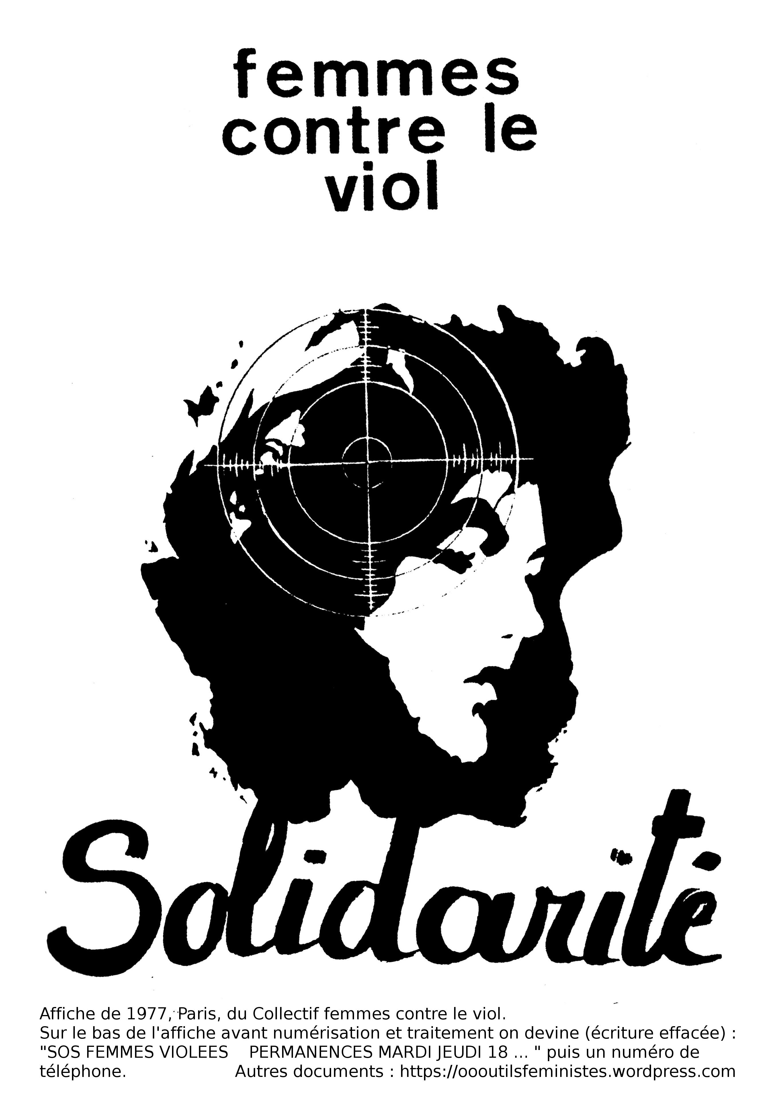 affiche femmes contre le viol solidarit collectif femmes contre le viol paris 1977 accueil. Black Bedroom Furniture Sets. Home Design Ideas